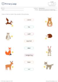 Word and picture matching - Forest animals