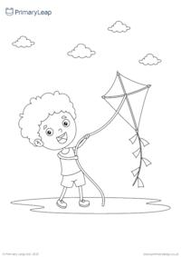 Flying a kite colouring page