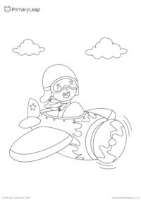 Flying a plane colouring page