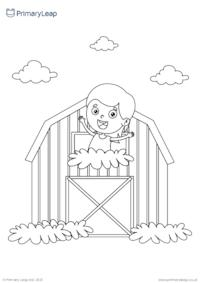 Fun on the farm colouring page