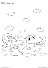 Alligator colouring page