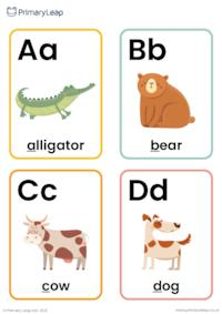 Animal alphabet flashcards A-Z