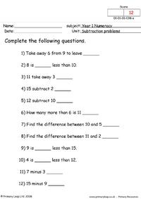 Subtraction problems 1