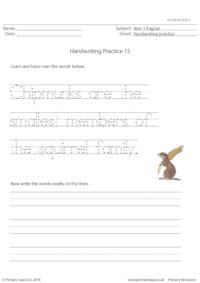 Handwriting Practice - Chipmunks