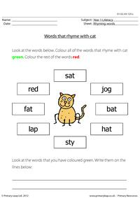 Words that rhyme with 'cat'