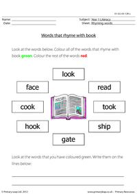 Words that rhyme with 'book'