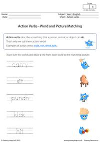 Action Verbs - Word and picture matching (2)