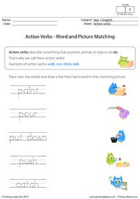 Action Verbs - Word and picture matching (3)