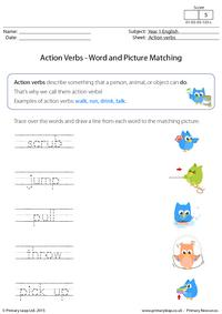 Action Verbs - Word and picture matching (4)