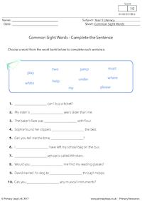 Common Sight Words - Complete the Sentence (3)