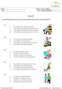 Picture sentences - School 1