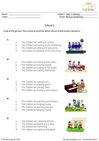 Picture sentences - School 2