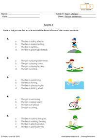 Picture sentences - Sports 2