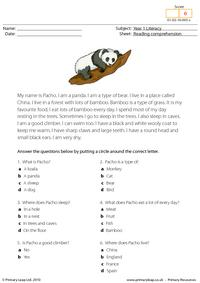Reading comprehension - I am a panda