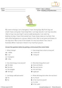 Reading comprehension - I am a kangaroo