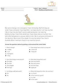 Reading comprehension - I am a kangaroo