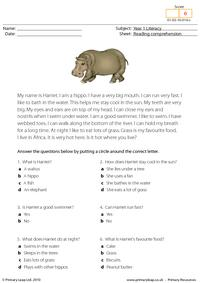 Reading comprehension - I am a hippo