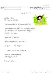 Reading comprehension - Alfie the Dog