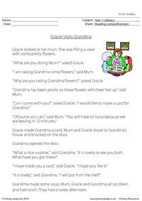 Reading comprehension - Gracie Visits Grandma