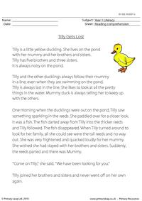 Reading comprehension - Tilly Gets Lost