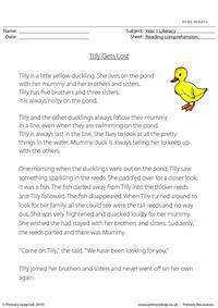 Reading comprehension - Tilly Gets Lost