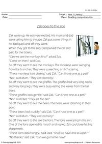 Reading comprehension - Zak Goes To The Zoo