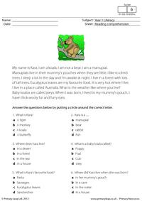 Reading comprehension - I am a koala