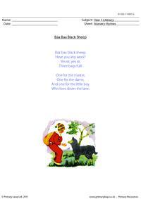 Nursery rhyme - Baa baa black sheep
