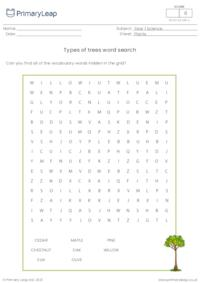 Types of trees - word search