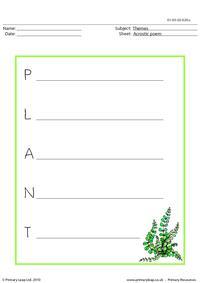 Acrostic poem - plant