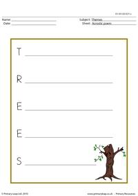 Acrostic poem - trees