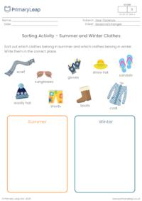 Summer and Winter Clothes Sorting Activity