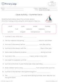 Summer Cloze Activity