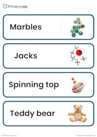 Old and new toys flashcards