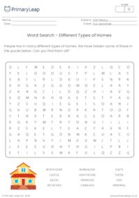 Word Search - Different Types of Homes