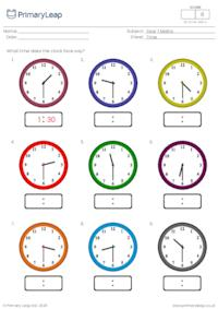 Telling the time (half past the hour)