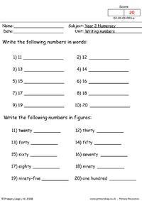 Writing numbers 3
