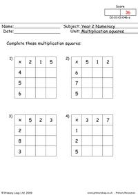Multiplication Square Mixed