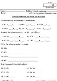 Writing numbers and place value review