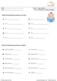 Writing numbers in words and digits
