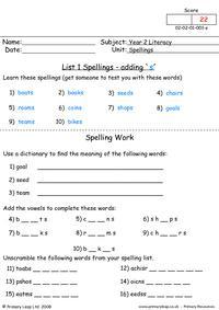 Spellings List 1