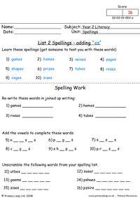 Spellings List 2