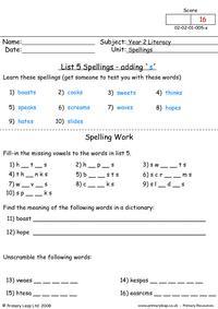 Spellings List 5