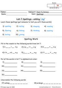 Spellings List 7