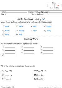 Spellings List 14