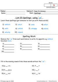 Spellings List 20