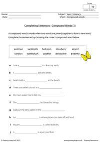 Completing sentences - compound words 1