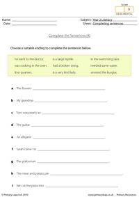 Completing sentences (4)
