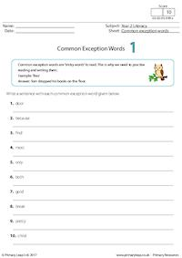Common Exception Words 1