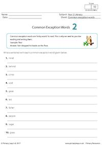 Common Exception Words 2